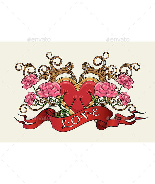 Heart with Roses - Tattoos Vectors