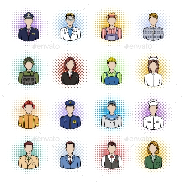 Profession Comics Icons Set - Miscellaneous Icons
