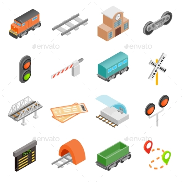 Railroad Isometric 3d Icons - Miscellaneous Icons