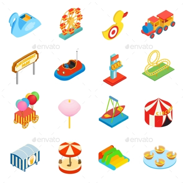 Amusement Park Isometric 3d Icons - Miscellaneous Icons