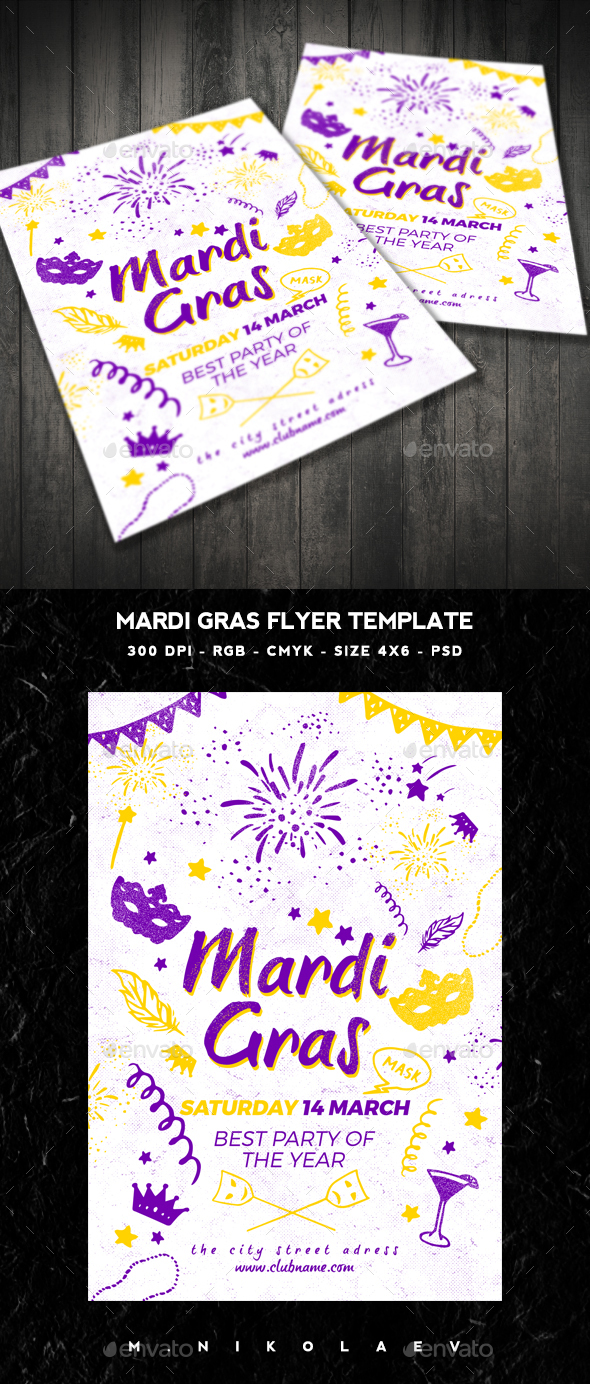 Mardi Gras Flyer V3 - Clubs & Parties Events
