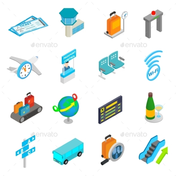 Airport Isometric 3d Icons - Miscellaneous Icons