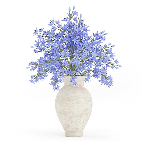 Blue Flowers in Ceramic Vase - 3DOcean Item for Sale