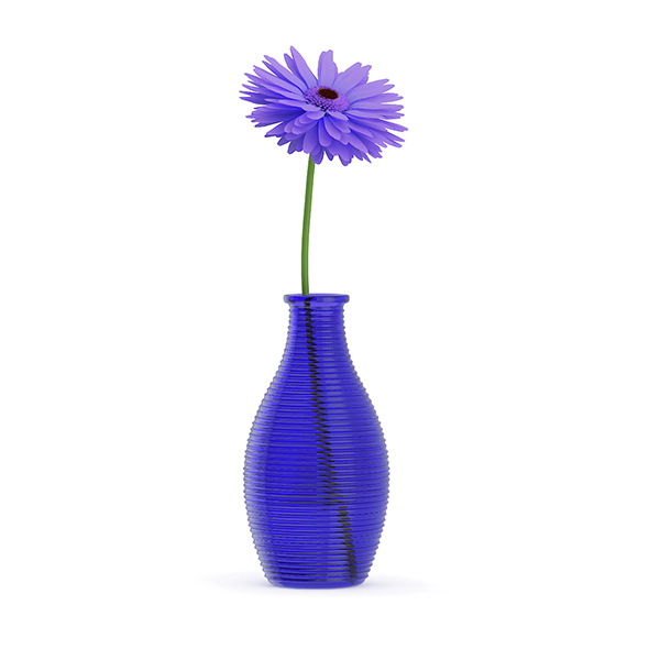 Small Purple Flower in Blue Vase - 3DOcean Item for Sale