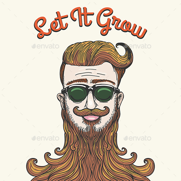 Hipster with Huge Beard - People Characters
