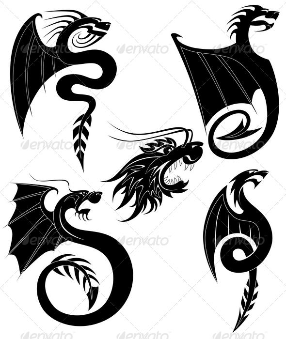 Black dragons tattoo - Tattoos Vectors