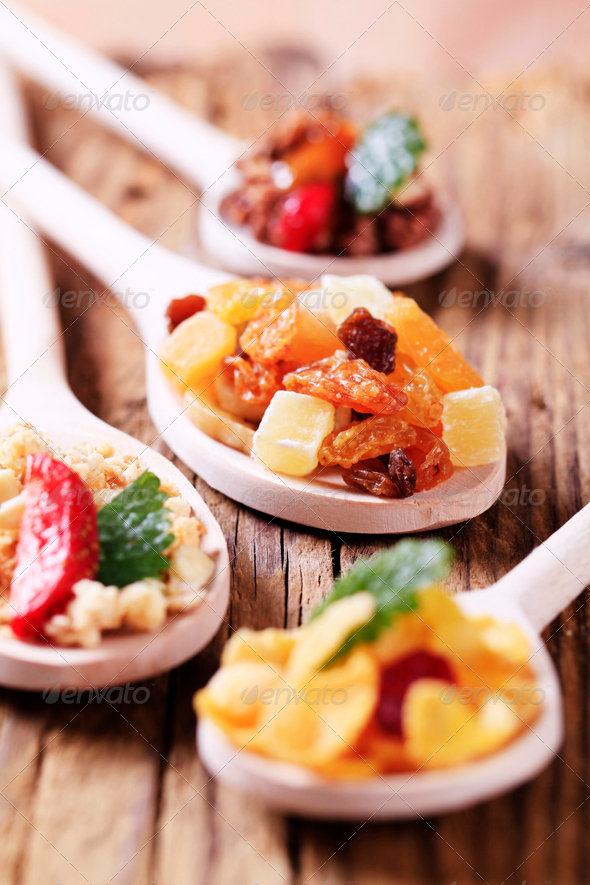 Breakfast cereals and dried fruit - Stock Photo - Images