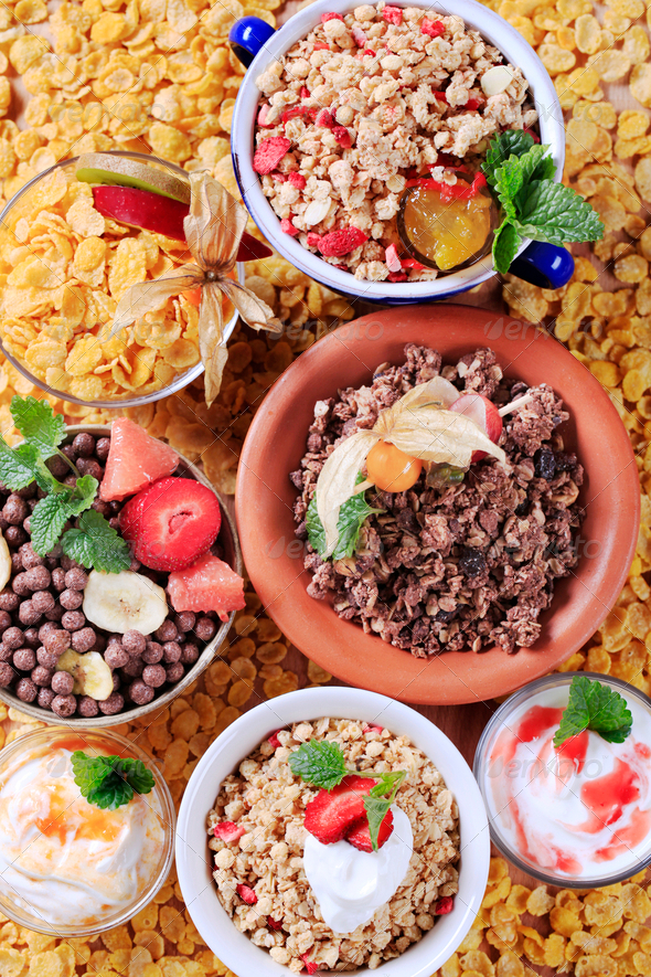 Variety of breakfast cereal - Stock Photo - Images