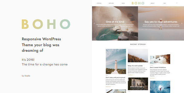 Boho - A Responsive WordPress Blog Theme - Personal Blog / Magazine