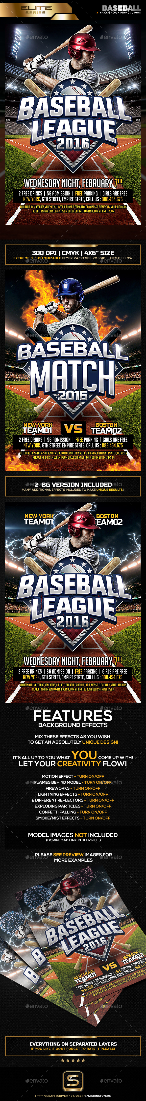 Baseball League Flyer Template - Sports Events