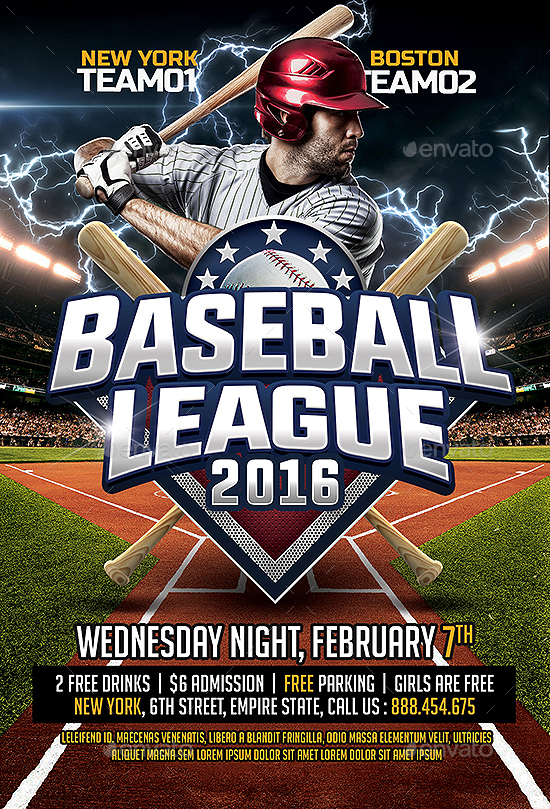 Baseball League Flyer Template By Smashingflyers  Graphicriver