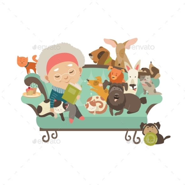 Old Woman With Her Cats And Dogs - Animals Characters