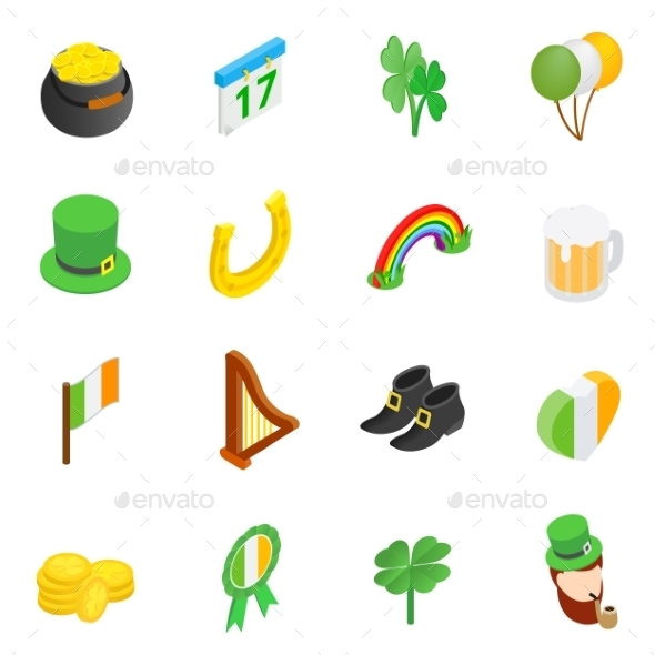St Patrick Day Isometric 3d Icons - Miscellaneous Icons