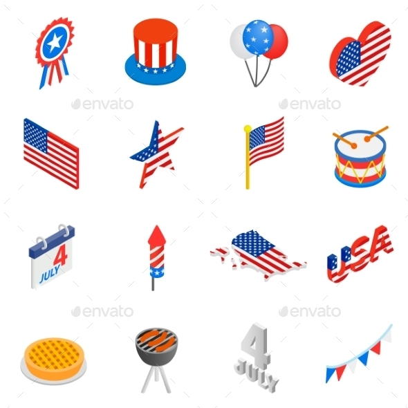 Independence Day Isometric 3d Icons - Miscellaneous Icons