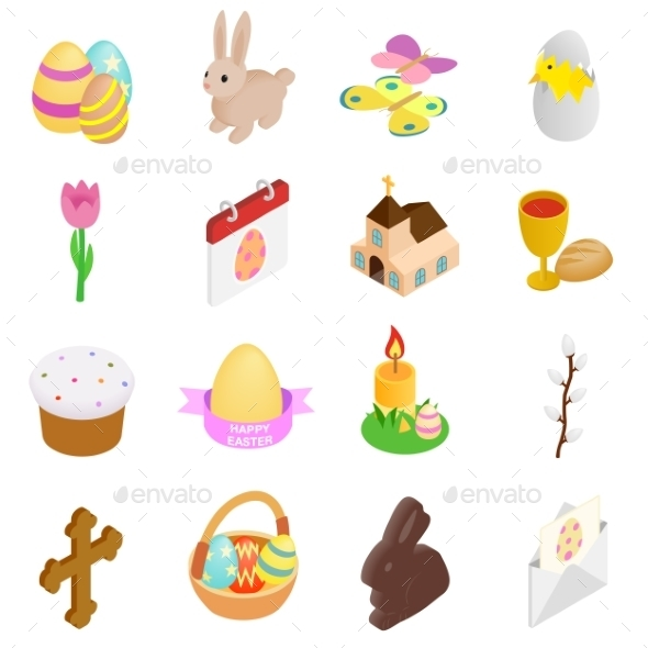 Easter Isometric 3d Icons - Miscellaneous Icons