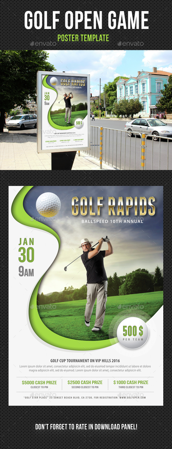 Golf Open Poster Template V06 - Signage Print Templates