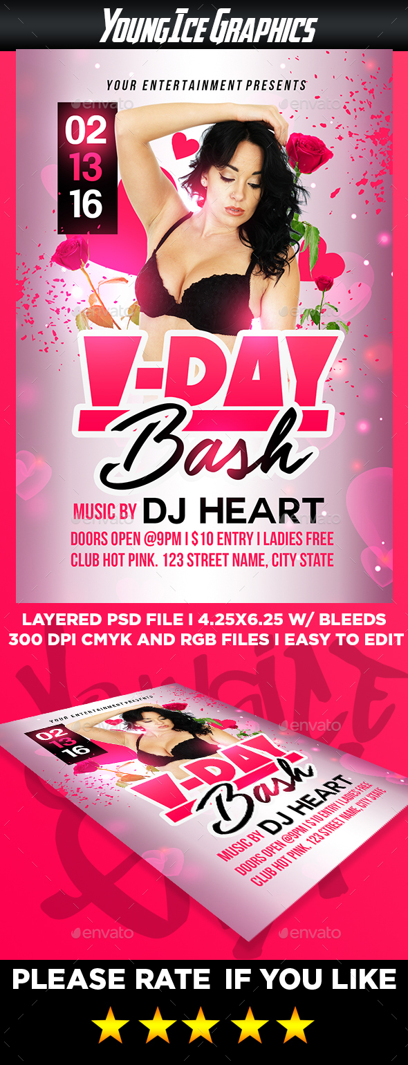 Vday Bash Flyer Template - Clubs & Parties Events