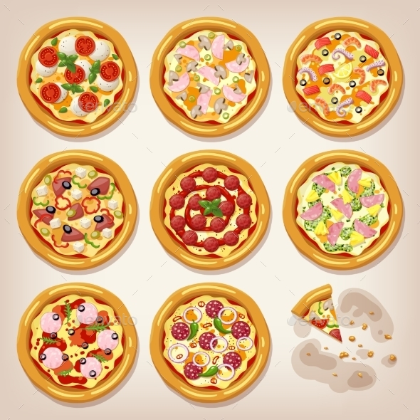Various Pizzas Vector Collection. - Food Objects