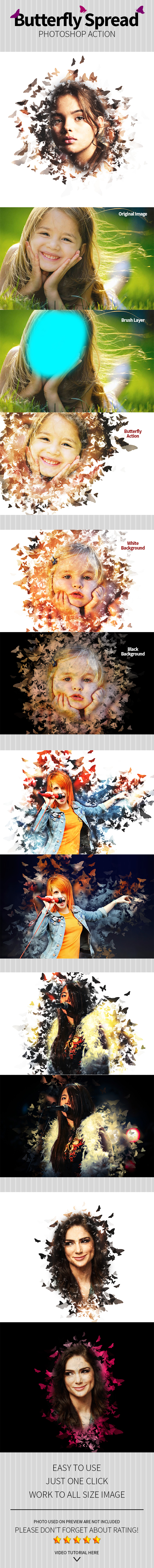 Butterfly Spread Photoshop Action - Photo Effects Actions