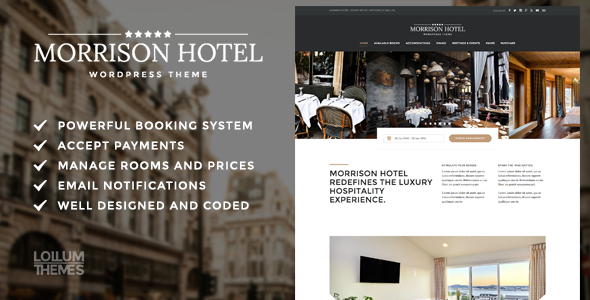 Morrison Hotel – Hotel Booking WordPress Theme