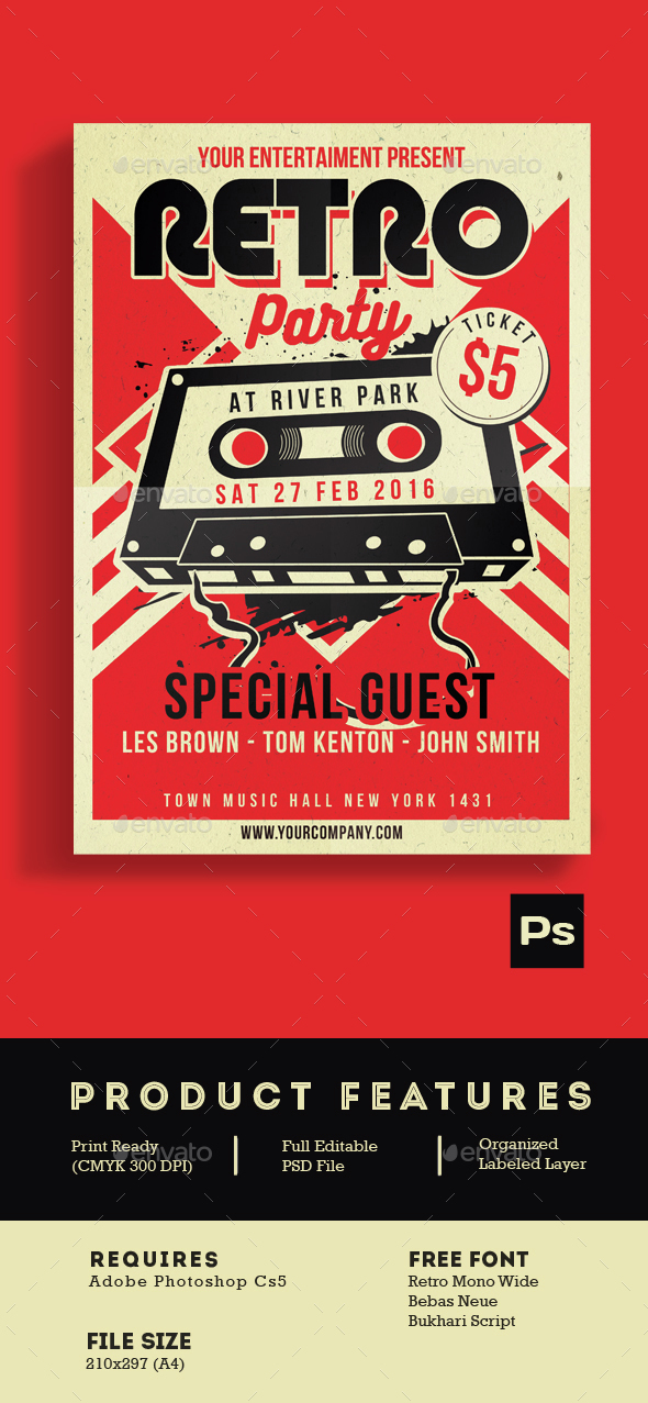 Retro Music Party Cassette - Events Flyers
