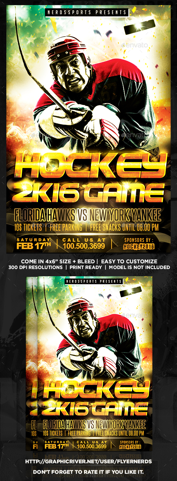 Hockey 2K16 Game Sports Flyer - Sports Events