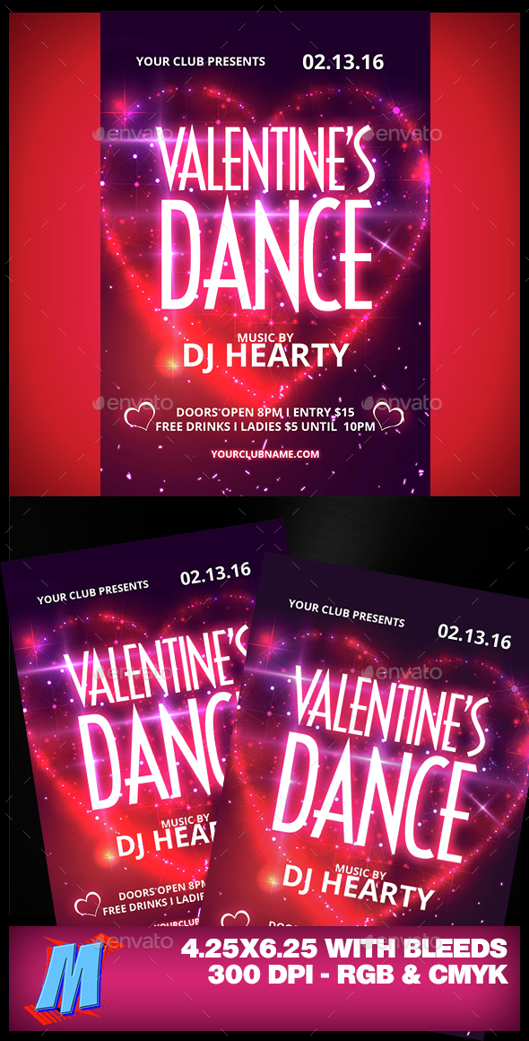 Valentines Dance Flyer Template - Clubs & Parties Events