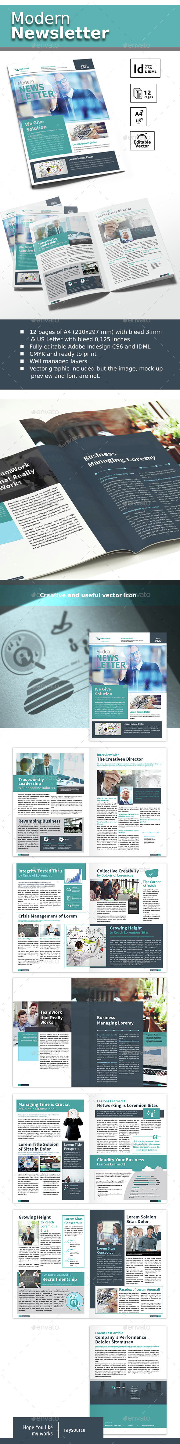 Modern Newsletter A4 & US Letter - Newsletters Print Templates