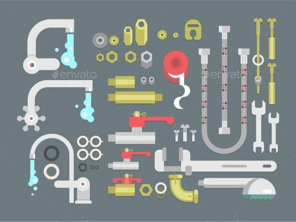 Set Plumbing Parts - Objects Vectors