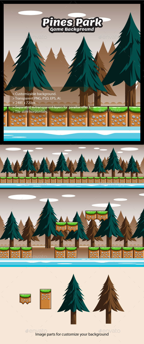 Pines Park Game Background with Tiles - Backgrounds Game Assets