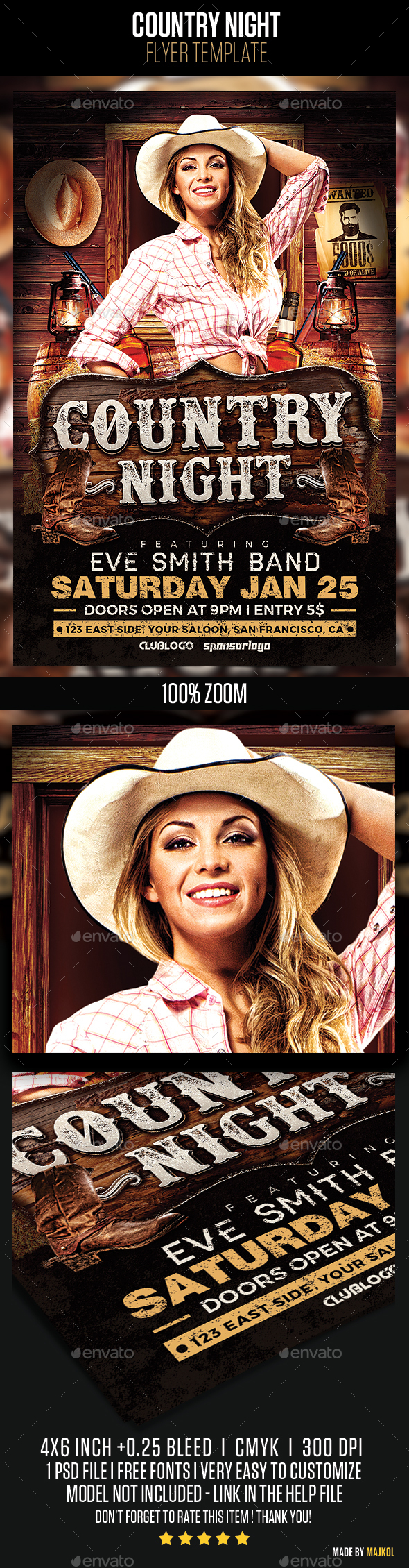 Country Night Flyer Template v2 - Clubs & Parties Events