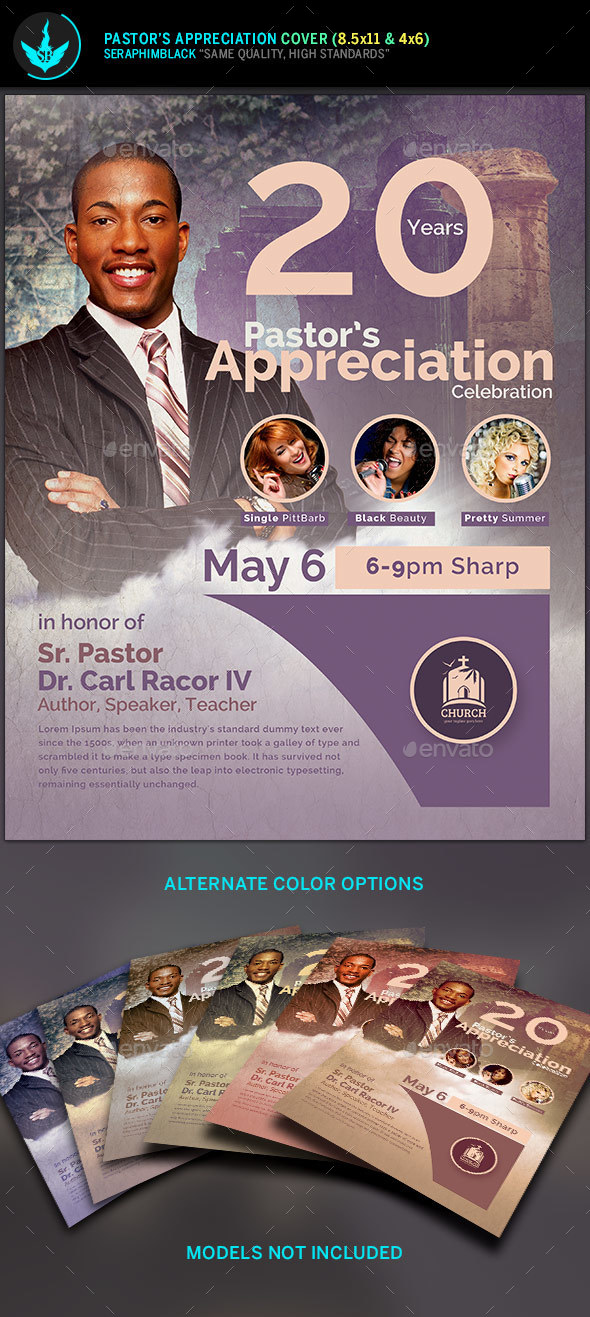 Modern Pastor's Appreciation Flyer Template 2 - Church Flyers