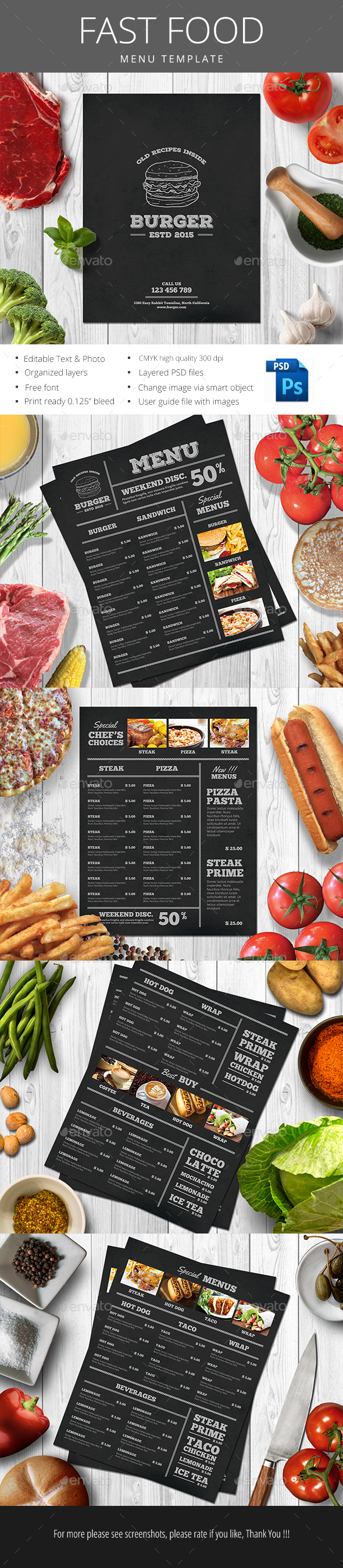 Fast Food Menu - Food Menus Print Templates
