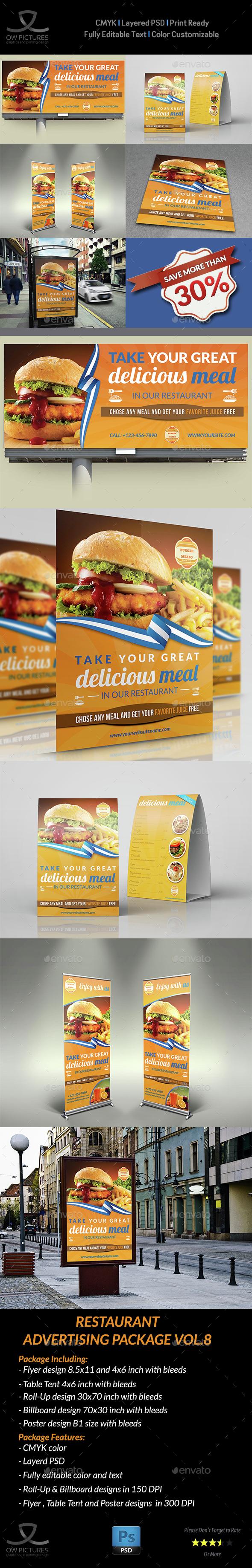 Restaurant Advertising Bundle Template Vol.8 - Signage Print Templates