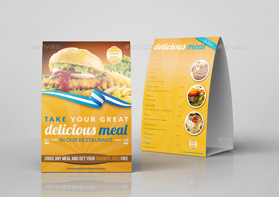 Restaurant Advertising Bundle Template Vol By OWPictures - Restaurant table advertising