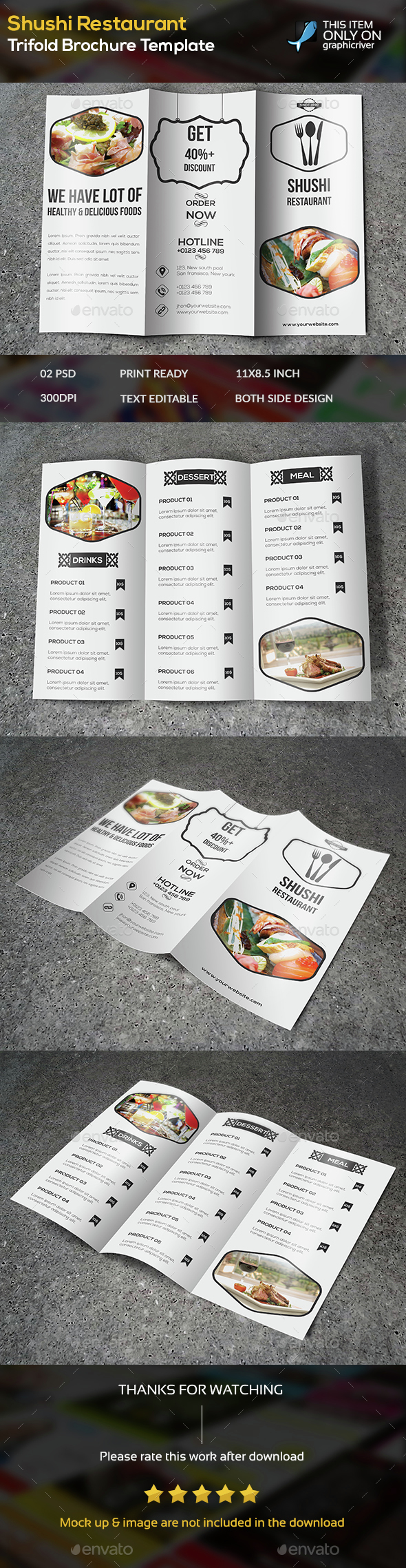 Shushi Restaurant Trifold Brochure Template - Brochures Print Templates