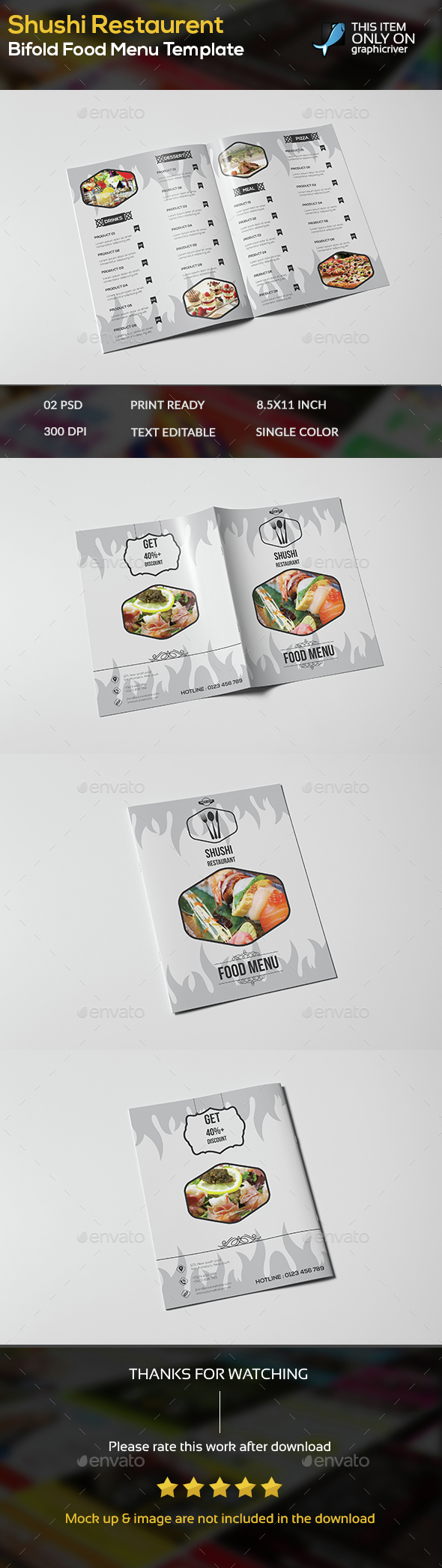 Sushi Restaurent Bifold Food Menu Template - Food Menus Print Templates