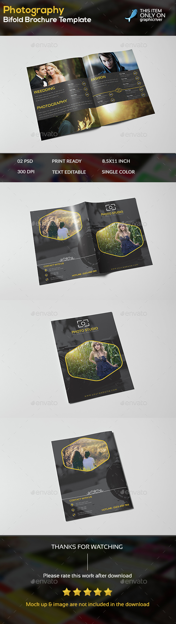 Photography Bifold Brochure Template - Brochures Print Templates