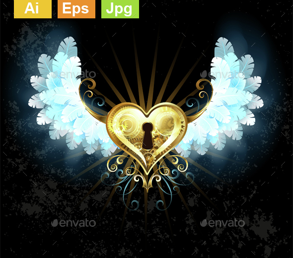 Mechanical Heart with White Wings - Decorative Symbols Decorative