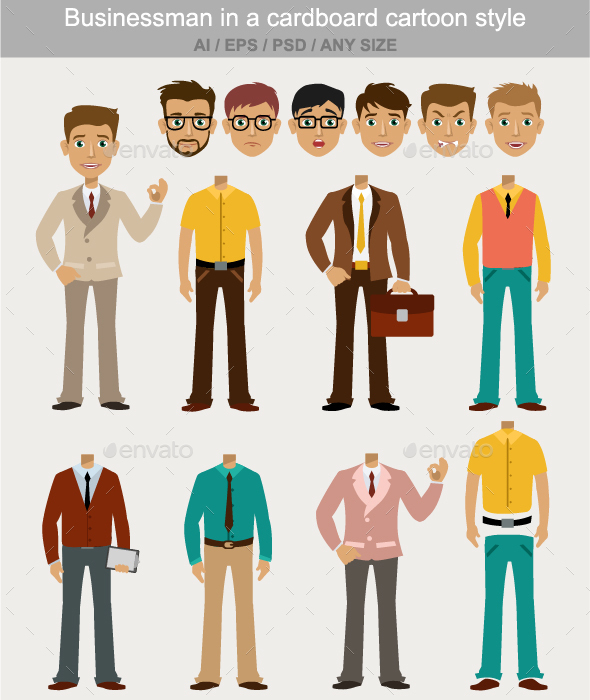 Businessman in a Cardboard Cartoon Style  - People Characters