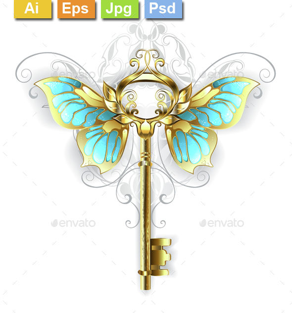 Golden Key with Butterfly Wings - Decorative Symbols Decorative
