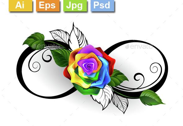 Infinity Symbol with Rainbow Rose - Tattoos Vectors