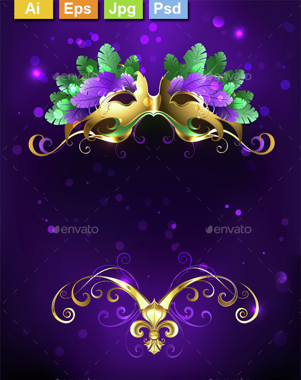Mardi Gras Mask of Bright Feathers - Miscellaneous Seasons/Holidays