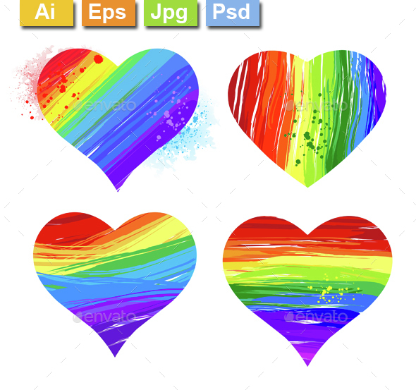 Rainbow Hearts - Decorative Symbols Decorative