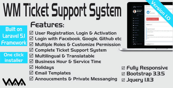 WM Ticket Support System - CodeCanyon Item for Sale