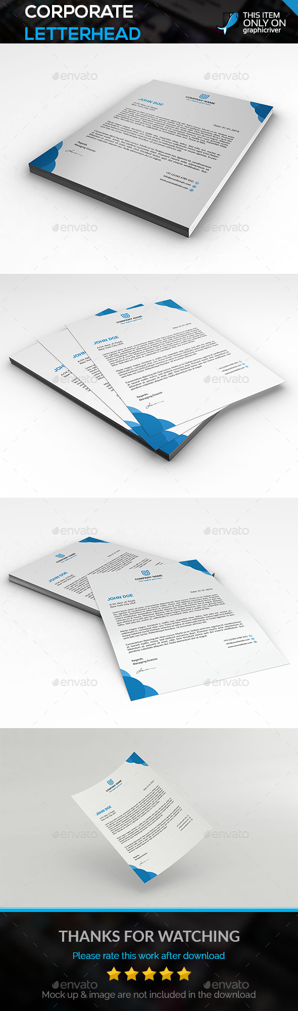 Corporate Letterhead - Flyers Print Templates