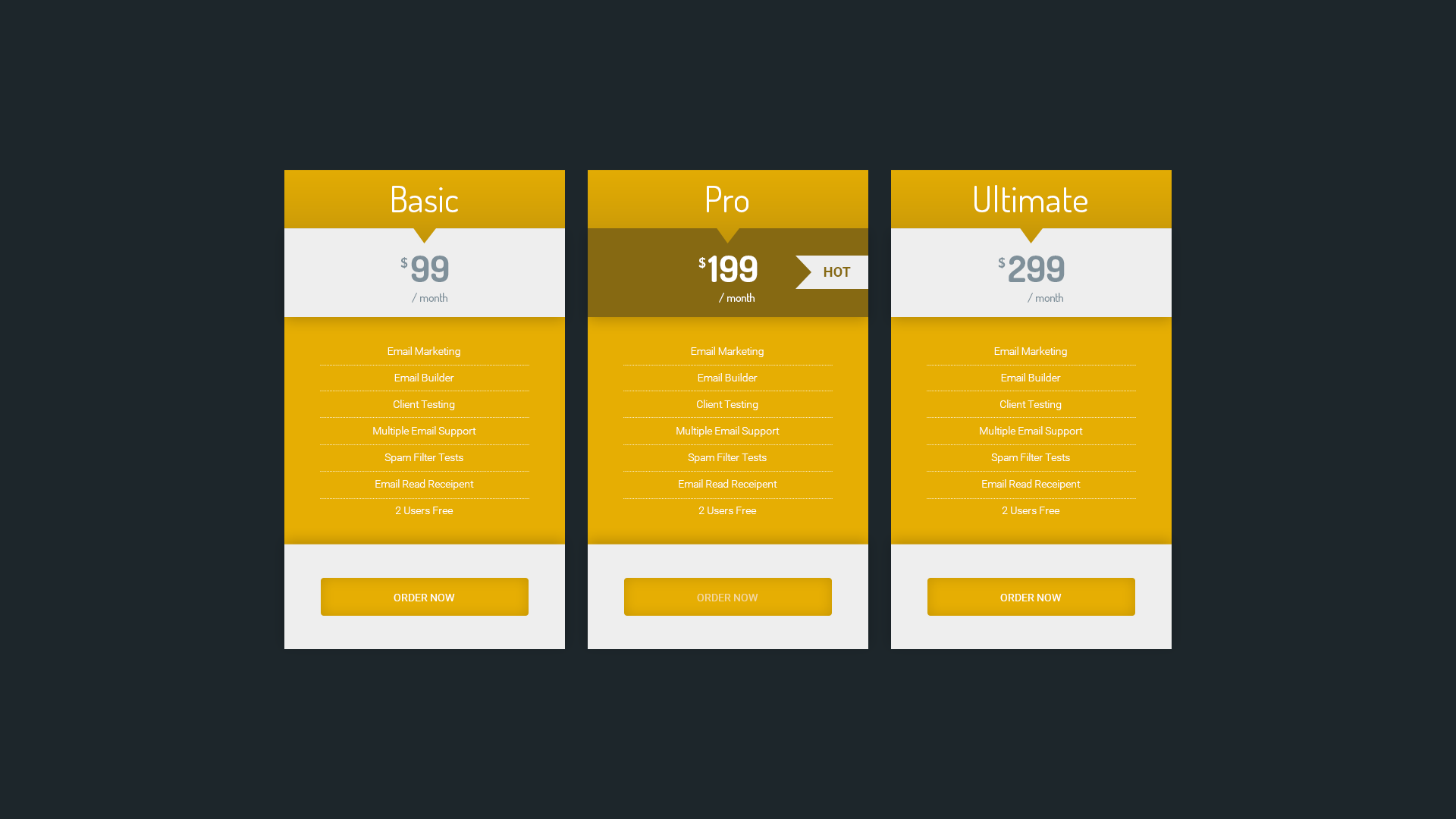 Best html css pricing table pricing templates best free for Cool table css