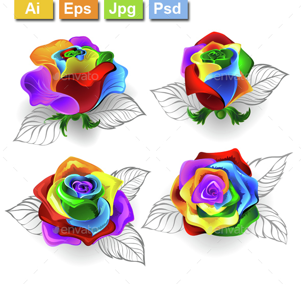 Set of Rainbow Roses - Flowers & Plants Nature