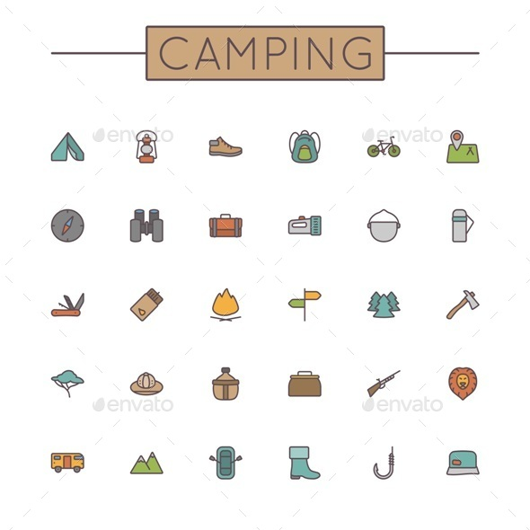 Vector Colored Camping Line Icons - Travel Conceptual