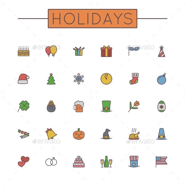 Vector Colored Holidays Line Icons - Seasonal Icons